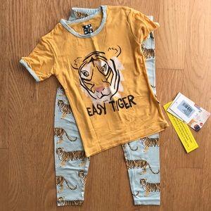 Kickee Pants 2 Piece Short Sleeve Pajama Tiger Set